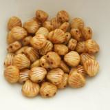 Shelly™ Shells (20 Beads) Chalk Butter Pecan, 8mm 2-hole Czech Glass