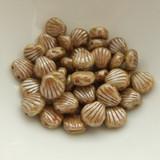 Shelly™ Shells (20 Beads) Chalk Lazure Green, 8mm 2-hole Czech Glass