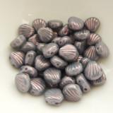 Shelly™ Shells (20 Beads) Chalk Lumi Purple, 8mm 2-hole Czech Glass