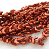 Chevron Duo (30 Beads) Bronze Fire Red 10x4mm 2-hole Czech Glass