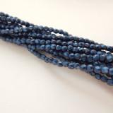 100 Beads - 2mm Firepolish Faceted Metallic Suede Blue Czech Glass
