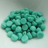 Cabochon 7mm 2-Hole (25 beads) Matte Turquoise CzechMates