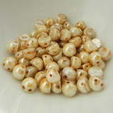 Cabochon 7mm 2-Hole (25 beads) White Picasso Luster CzechMates