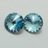 14mm 1122 Swarovski Rivoli (2 Pieces) Aqua Foiled