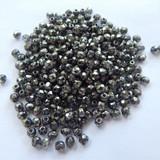 100 Beads - Firepolish 3mm Czech Glass Crystal Antique Chrome