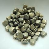 Ginko (35 Beads) Metallic Suede Gold 7.5mm x 7.5mm 2-hole Czech Glass by Matubo