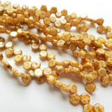 Two Hole 6mm Honeycomb Chalk Dark Travertin (30 Beads)