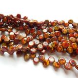 Two Hole 6mm Honeycomb Hodge Podge Orange Travertin (30 Beads)