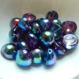 14mm Dome Czech Glass Crystal Magic Blue (5 beads)