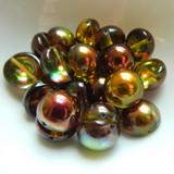 14mm Dome Czech Glass Crystal Magic Green (5 beads)