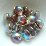 14mm Dome Czech Glass Crystal Copper Rainbow (5 beads)