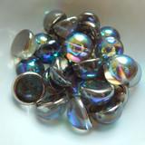 14mm Dome Czech Glass Crystal Graphite Rainbow (5 beads)