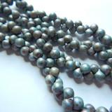 6x5mm Mushroom (50 beads) White Matte Travertin Blue Czech Glass