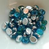 Baroque Oval (25 Beads) 8x6mm 2-Hole Backlit Aquasol Czech Glass