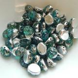 Baroque Oval (25 Beads) 8x6mm 2-Hole Backlit Aquasol Picasso Czech Glass