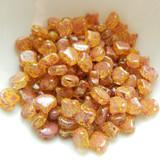 Ginko (35 Beads) Confetti Splash Red Yellow 7.5mm x 7.5mm 2-hole Czech Glass by Matubo