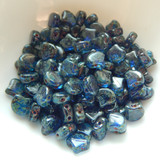 Ginko (35 Beads) Transparent Sapphire Picasso 7.5mm x 7.5mm 2-hole Czech Glass by Matubo