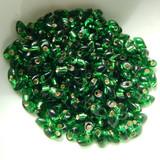 10 Grams - 4x7mm Long Magatama - Silver Lined Green - Miyuki - No. 16