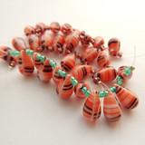 10 Beads - 15x10mm Drop Top-drill - Red, Black, White Stripe - Czech Glass
