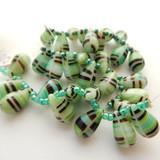 10 Beads - 15x10mm Drop Top-drill - Green, Black, White Stripe - Czech Glass