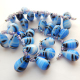 10 Beads - 15x10mm Drop Top-drill - Blue, Black, White Stripe - Czech Glass