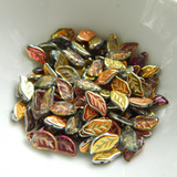 25 Beads - 6x12mm Leaf Top-drill- Crystal Marea - Czech Glass Beads