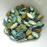 25 Beads - 6x12mm Leaf Top-drill- Crystal Vitrail - Czech Glass Beads