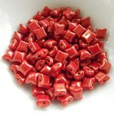 Wibeduo® (25 Beads) - Opaque Red Lumi - 8mm x 8mm 2-hole Czech Glass