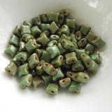 Wibeduo® (25 Beads) - Green Turquoise Travertin - 8mm x 8mm 2-hole Czech Glass