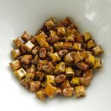 Wibeduo® (25 Beads) - Opaque Lemon Travertin - 8mm x 8mm 2-hole Czech Glass