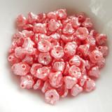 50 Beads - 7x5mm Bell Flower Cup Pastel Light Coral -  Czech Glass