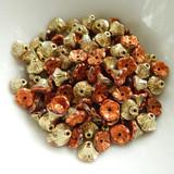 50 Beads - 7x5mm Bell Flower Cup Jet California Gold Rush - Camel Gold Coat - Czech Glass