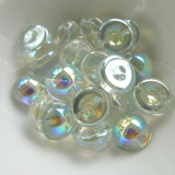 5 Beads - 14mm Dome - Crystal Green Rainbow - Czech Glass