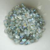 100 Beads - Pinch 5x3mm Crystal Blue Rainbow - Czech Glass