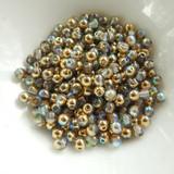 100 Beads - 4mm Druk Crystal Golden Rainbow Czech Glass Rounds