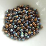 100 Beads - 4mm Druk Crystal Glittery Bronze Matte Czech Glass Rounds