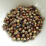 100 Beads - 4mm Druk Jet California Gold Rush Matte Czech Glass Rounds