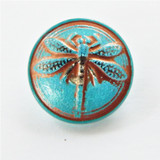1 Button - 18mm Turquoise Dragonfly with Copper Wash/Silver Paint - Czech Glass