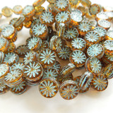 6 Beads - 12mm Coin with Aster Flower - Transparent Amber Picasso Turquoise Wash - Czech Glass