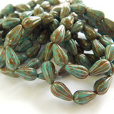 10 Beads - 13x8mm Melon Drop Opaque Teal Turquoise Picasso - Czech Glass