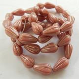 10 Beads - 13x8mm Melon Drop Pink Silk with Platinum Wash - Czech Glass