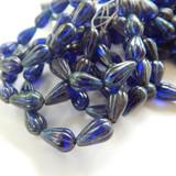 10 Beads - 13x8mm Melon Drop Transparent Cobalt Blue Picasso - Czech Glass