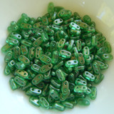 5 grams - CzechMate Bar Bead Gold Marbled Green Emerald - 6x2mm Czech Glass