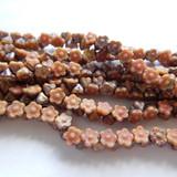 25 Beads - 7mm Button Flower Matte Apollo Caramel Pink - Czech Glass
