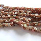25 Beads - 7mm Button Flower Honeysuckle Green Picasso - Czech Glass