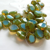 4 Beads - Polished Drop 16x12mm Milky Aquamarine Picasso - Czech Glass