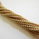 100 Beads - 4mm Druk Sueded Gold Smoky Topaz Czech Glass Rounds