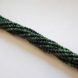 100 Beads - 4mm Druk Green With Black Czech Glass Rounds