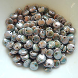 6mm Lentil (50 beads) Top-drilled Chalk Blue Luster Czech Glass