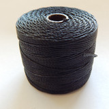 Black - S-Lon Tex 210 Nylon bead Cord, 77 Yards, 1 Spool, Kumihimo, Macrame, Crochet, Stringing